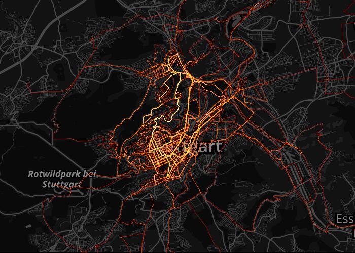 meine Fahrrad Heatmap von Stuttgart