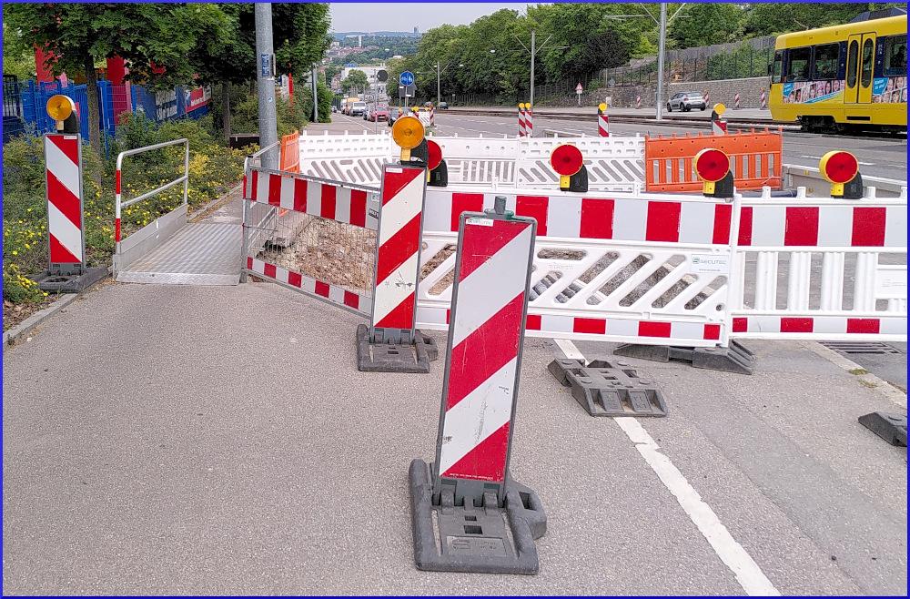 Baustellen auf dem Radweg Pragstraße