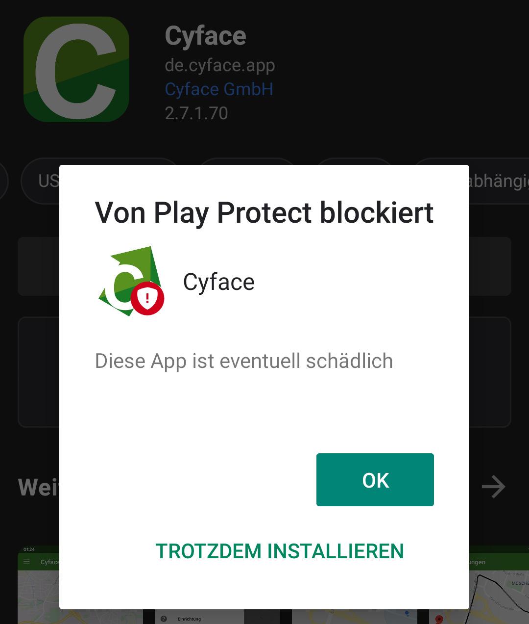 Cyface wird blockiert