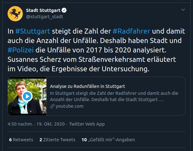Screenshot des Tweets der Stadt Stuttgart