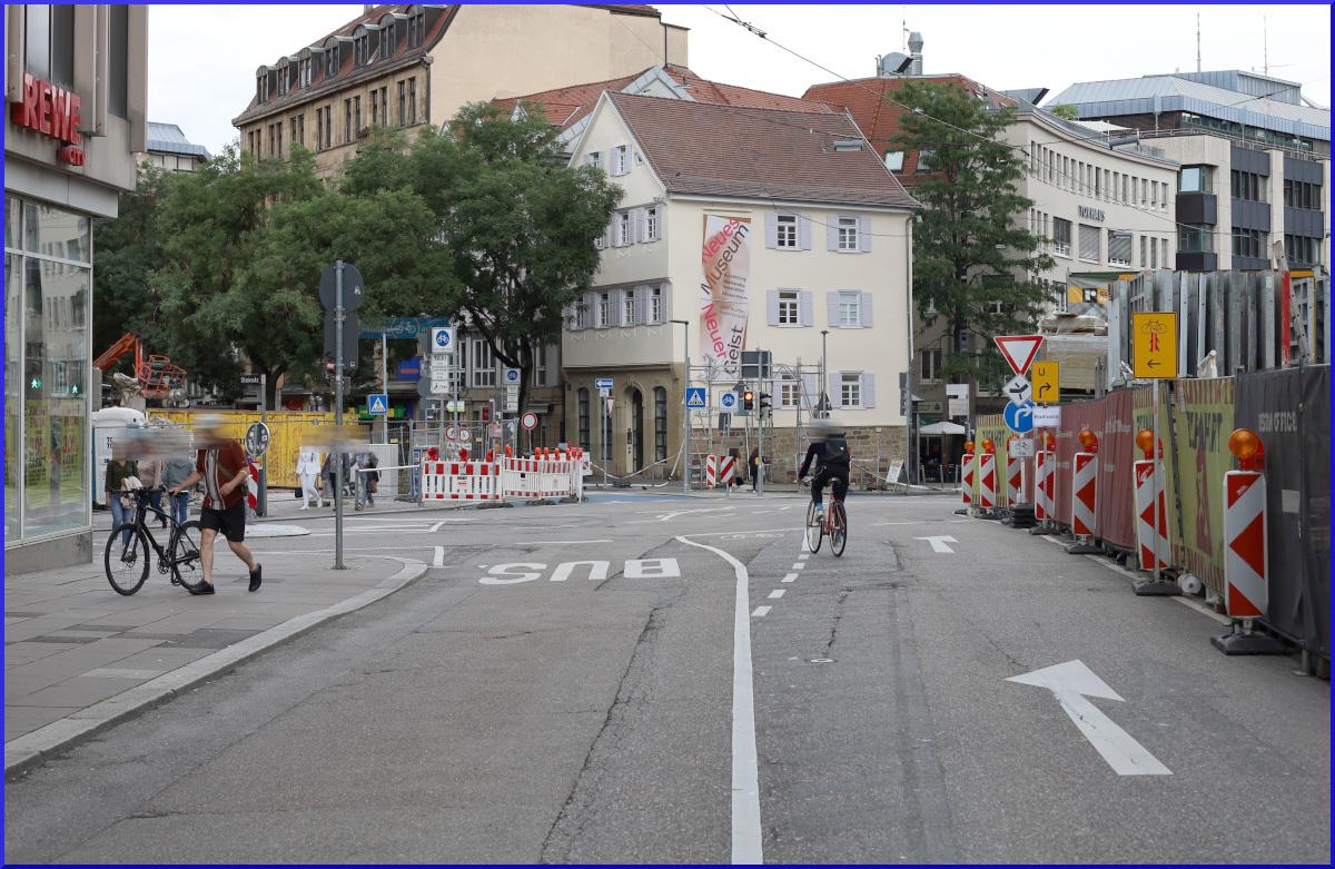 Einfahrt in die Fahrradstraße Eberhardstraße